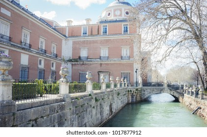 Heritage, Gardens of the city of Aranjuez, located in Spain. Stone palace and beautiful autumn landscapes with beautiful fountains and mythological figures