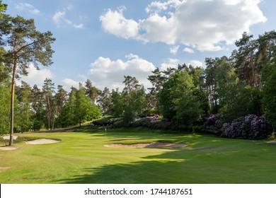 Herkenbosch, The Netherlands - May 27, 2020: The Green of Hole 6 of Golf & Country Club De Herkenbosche