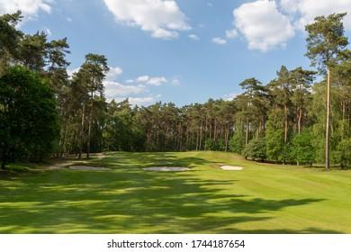Herkenbosch, The Netherlands - May 27, 2020: Hole 5 of Golf & Country Club De Herkenbosche