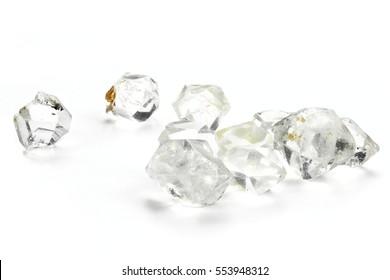 Herkimer diamonds isolated on white background