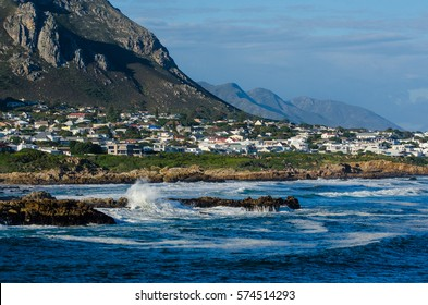 Hermanus beach with its mountains and hills, Western Cape, Republic South Africa.