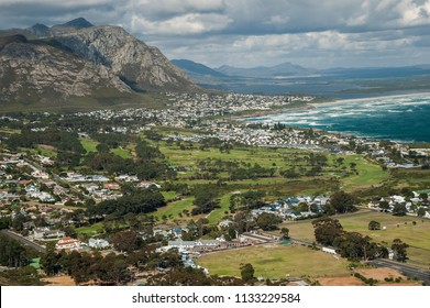 Hermanus golf club and town from Rotary way viewpoint.