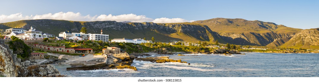 HERMANUS, SOUTH AFRICA - 4 OCTOBER 2015: Panorama of Hermanus at Sunset during the Whale Festival. Hermanus is famous for Southern Right Whale watching.