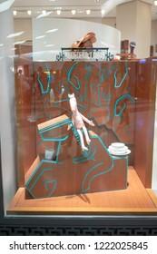 Hermes shop at Siam Paragon, Bangkok, Thailand, Oct 19, 2018 : Accessories display at flagship store for visual merchandising.