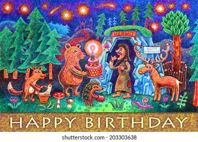A hermit has a birthday today. A fox, a bear, a hedgehog and a deer came to congratulate him. Cartoon illustration with crayons.