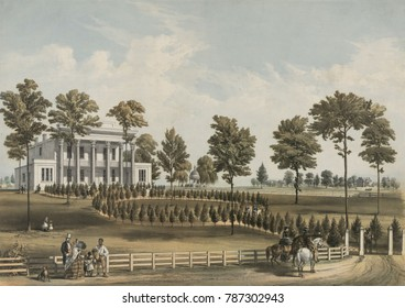 The Hermitage, Andrew Jacksons plantation home from 1804 to 1845 in 1856 lithograph. The house was on a 1,050-acres of land worked by around 100 slaves when Jackson was president in the 1830s
