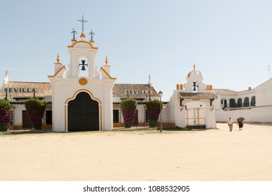 The Hermitage of El Rocio. The Church is home to the Virgin of El Roci­o in the countryside of Almonte, Province of Huelva, Andalusia, Spain