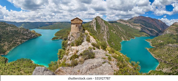 Hermitage of La Pertusa over the Canelles reservoir in La Noguera, Lleida province, Catalonia, Spain
