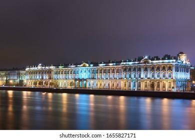 Hermitage Museum building at night on the illuminated promenade