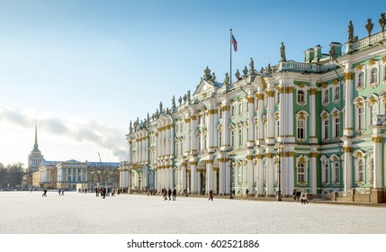Hermitage museum - Winter Palace building on Palace Square in St. Petersburg