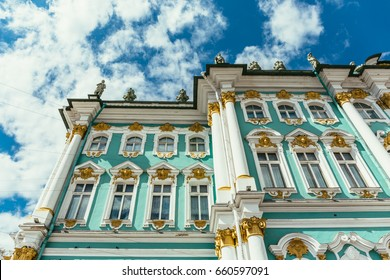 Hermitage Museum or Winter palace in Saint-Petersburg, Russia, toned