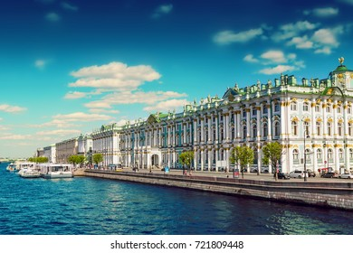 Hermitage palace and Neva river in Saint Petersburg, Russia