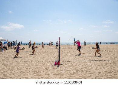 Hermosa Beach, CA: 5/28/2018: People enjoying the sun and ocean in Hermosa Beach, California on a sunny day.  Hermosa Beach is a popular destination in southern California.