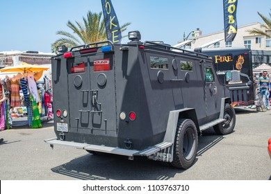 Hermosa Beach, CA: 5/28/2018:  Swat vehicle (Lenco BearCat) on display in Hermosa Beach, California for Memorial Day.