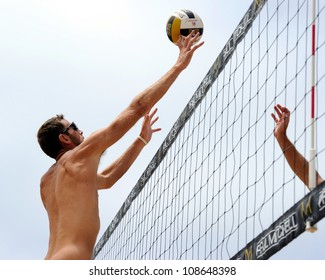 HERMOSA BEACH, CA - JULY 21: Ryan Doherty competes in the Jose Cuervo Pro Beach Volleyball tournament in Hermosa Beach, CA on July 21, 2012.