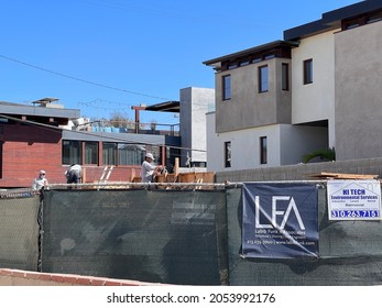 Hermosa Beach, CA: October 5, 2021:  Construction taking place in a residential part of Hermosa Beach, California.  Hermosa Beach is a city in LA County.