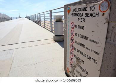Hermosa Beach, California - May 21, 2019: Welcome to Hermosa Beach Pier Sign, HERMOSA BEACH, California