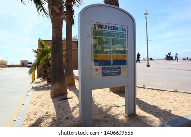 Hermosa Beach, California - May 21, 2019: Welcome to Hermosa Beach Sign, HERMOSA BEACH, California