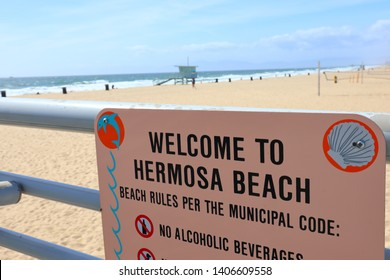 Hermosa Beach, California - May 21, 2019: Welcome to Hermosa Beach Sign, HERMOSA BEACH, California