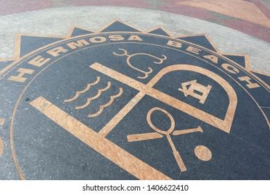 Hermosa Beach, California - May 21, 2019: Hermosa Beach sign on the road
