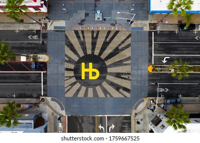 Hermosa Beach California Pier Intersection. City Logo painted on street. Photo taken March 15, 2020.