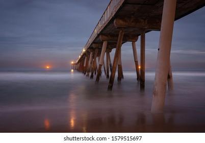 Hermosa beach pier after the sunset