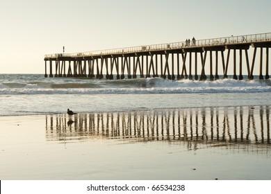 Hermosa Beach Pier California Sunset Reflections