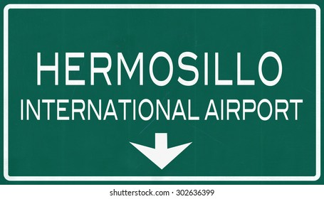 Hermosillo Mexico International Airport Highway Sign 2D Illustration