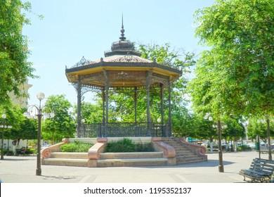 Hermosillo, Sonora / Mexico - 06/29/2018: A gazebo or in Spanish a Mirador is shown which is located in the Plaza Zaragoza.
