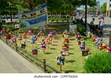 Hermosillo, Sonora / Mexico - 06/29/2018: A memorial that comprises stuffed bears is maintained on a downtown plaza  to remember the forty four children lost in the  ABC Day Care Center Fire.