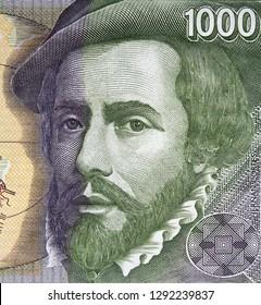 Hernan Cortes portrait on Spanish 1000 peseta (1992).  Spanish Conquistador, colonizer of Mexico.