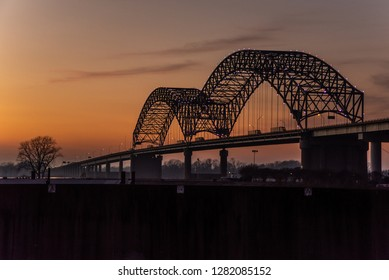 Hernando de Soto Bridge at sunset in Memphis Tennessee