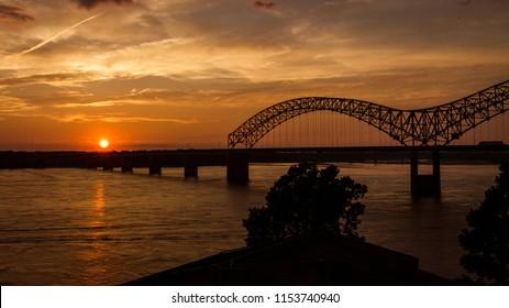 Hernando Desoto Bridge in Memphis, TN at Sunset