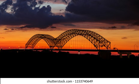 Hernando-Desoto Bridge in Memphis, TN at Sunset