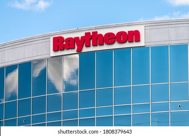 Herndon, USA - August 30, 2020: Raytheon multinational conglomerate corporation corporate office with building sign in Northern Virginia, manufacturer of airspace aircraft engines, defense systems