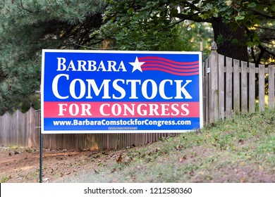 Herndon, USA - October 12, 2018: Political Election sign for Republican Congress woman Barbara Comstock representative on lawn by mailbox in Virginia