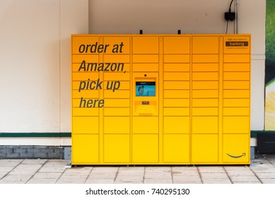 HERNE BAY, KENT, UK - 16OCT2017: An Amazon Locker which may be used by Amazon customers as a pick up point for mail order goods.