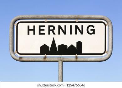 Herning city road sign in Denmark