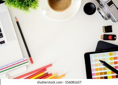 Hero Header Concept. Top view professional Modern Creative Graphic Designer White Desk.