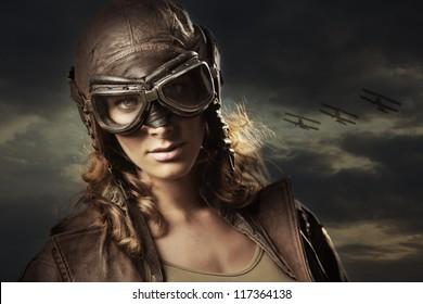 Hero woman airplane aviator