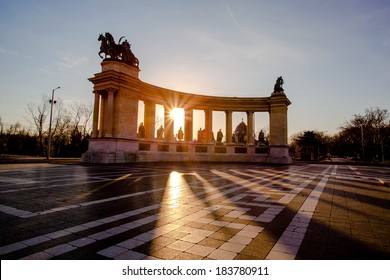 Heroes Square in Budapest against sunrise, Hungary