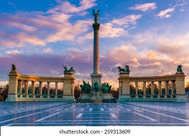 Heroes Square Budapest in morning. The photo was made after a rain, the reflection is real.