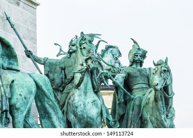 A heroic sculpture on the millennium monument (Heroes square) in Budapest, Hungary.