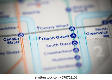 Heron Quays Station. DLR Line. London. UK.