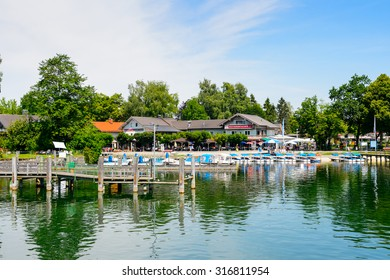 HERRENINSEL, GERMANY - JULY 3, 2015: Nature of  Chiemsee lake, Bavaria's largest lake