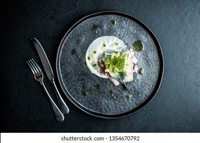 herring elegant plate restaurant gourmet onion sauce plate exclusive food fish fillet elegant black dark modern food lunch dish