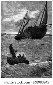 Herring fishing. Lip of the net, vintage engraved illustration. Journal des Voyage, Travel Journal, (1880-81).