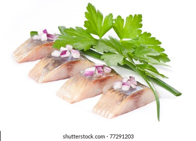 herring isolated pieces of salt fillet with onion