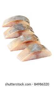 herring salt fillet - isolated pieces
