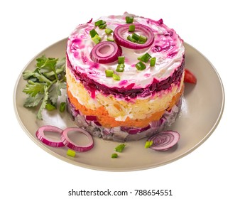 Herring under a fur coat  isolated. Russian national cuisine